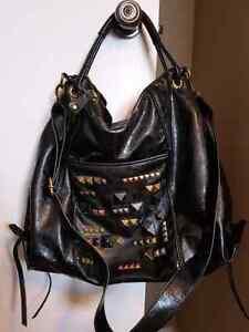 Huge $89 black Rachel Roy studded messenger bag