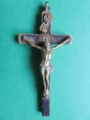 Image of 005 Petit crucifix en bois noirci et bronze ou laiton