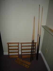 Pool Cues and pool balls wall mount holders
