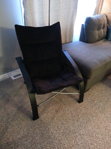 Collapsible black corduroy chair, plus floor lamp