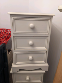 Pair of Cream bedside/ nightstand tables Solid Wood 3 drawers each