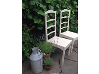 Shabby chic ladder back chairs