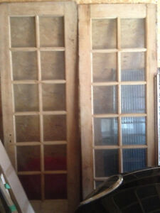 ANTIQUE WOODEN FRENCH DOORS Beveled Glass