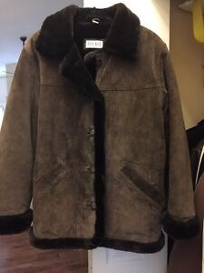 Braemar leather coat with faux fur interior - size 10-12