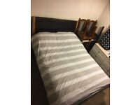 Double bed and mattress leather effect