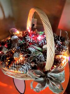 Light up cristmas basket