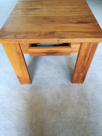 Solid wood side table with small drawer