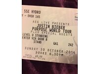 Justin Bieber Standing Ticket *Face Value* Glasgow 30th October