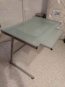 Office Glass Desk With Keyboard Tray