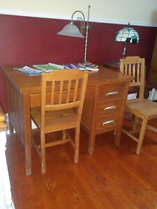Oak desk and chair.