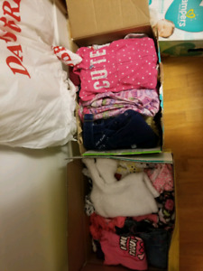 2 large boxes of 6 to 12month girls clothes