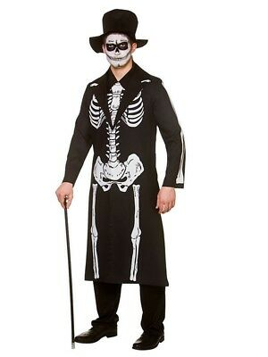 Mens Skeleton Day Of The Dead Costume Halloween Skeleton Bond Fancy Dress - Day Of The Dead Mens Halloween Costume