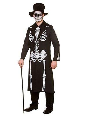 Mens Skeleton Day Of The Dead Costume Halloween Skeleton Bond Fancy Dress - Day Of The Dead Mens Halloween Costume