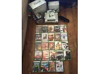 BARGAIN ! Xbox 360 , 24 games, hddvd 11 films,wireless network adaptor,2 controllers,kinetic!