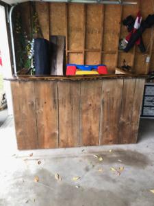 Rustic live edge wooden bar