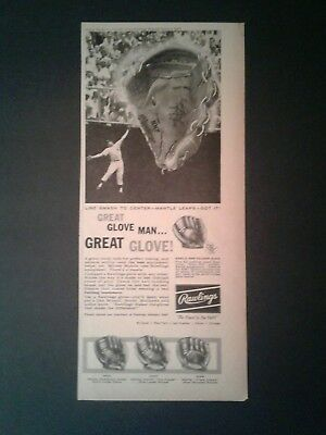 1960 Rawlings Mickey Mantle N.Y.Yankees Glove Paper Ad