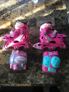 Barbie Roller blades in-line skates and knee & elbow pads