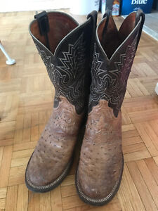 Size 10 Lucchese Ostrich Skin Cowboy Boots