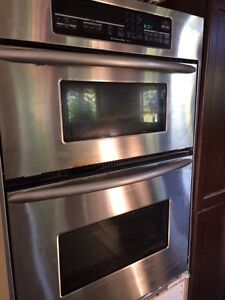 Stainless steel wall oven/microwave combi
