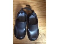 M&S Boys School Shoes Black Leather Slip-on square toe Scuff Resistant 10