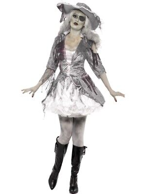 Kostüm Damen Geisterschiff Piratenschatz Grau mit Kleid und Hut - Schiff Kostüm