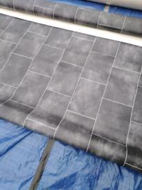 Charcoal tile effect vinyl flooring