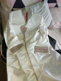Cream n pink sherwani