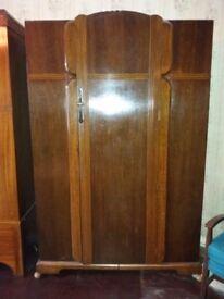 Lovely large antique walnut wardrobe