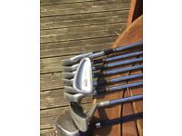 Set of irons and woods including putter