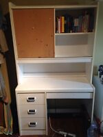 Desk and shelving unit