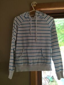 White and Blue Striped Hoodie