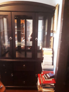 Chocolate brown hutch w/light for sale