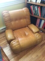 leather brown chair -