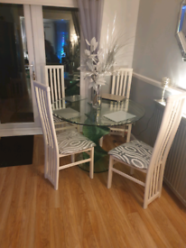 Glass coffee table, dining table + chairs