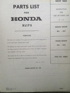 1973 Honda XL175 Genuine Parts List Regina Regina Area image 2