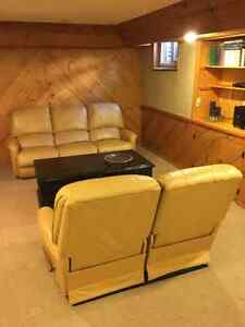 Leather Lazyboy Recliner Couch and Loveseat