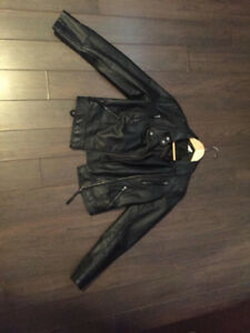 faux leather motto jacket small