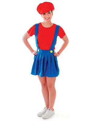 Plumber Lady Workman Adult Halloween Super Mario Fancy Dress Costume Video Games - Adults Halloween Games