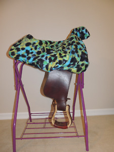 Custom Green and Blue Leopard Print Western Saddle Cover