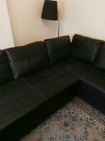 Ikea sofa bed black leather. new no scratches