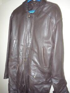 Manteau de cuir brun pour hommes - Men's brown leather coat