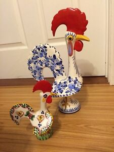 2 Vintage Hand Painted Porcelain Roosters from Rio
