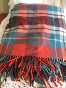 1940's Red & Green Plaid All Wool Throw with Frills
