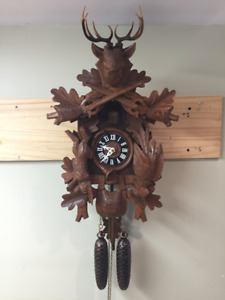 "LARGE CUCKOO CLOCK 8 DAY HUNTER, ""NEVER USED"""