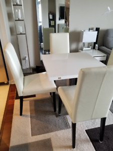 *** White Bonded Leather Dining Chairs ***