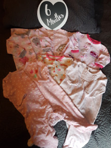 Five 6 Month Girls Sleepers