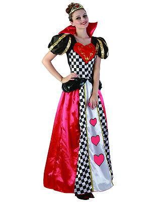 Queen Of Hearts Outfit (Ladies Adult Fairytale Queen Of Hearts New Fancy Dress Costume Book Week)