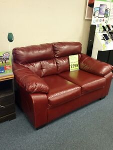 Red blended leather loveseat