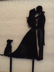 For sale: Bride, Groom, and dog wedding cake topper