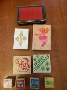 8 rubber stamps and one ink pad, Sesame Street Zoe and Christmas